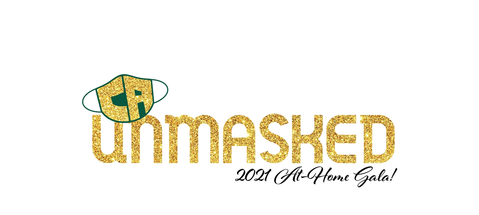 Glittery logo for CA Unmasked Gala