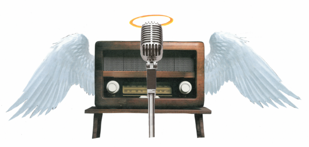 Radio with wings and microphone with halo.